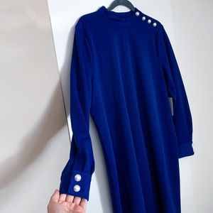 Eloquii Blue Dress with Pearl Buttons